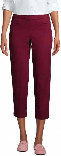 Lands' End Women's Mid Rise Pull On Crop Pants - Lands' End - Red - 2 Chino