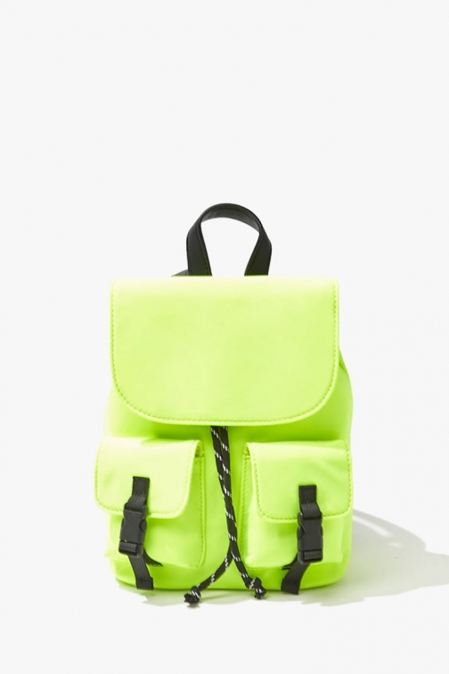 Forever21 Forever 21 Contrast-Trim Pocket Mini , Neon Green Backpack