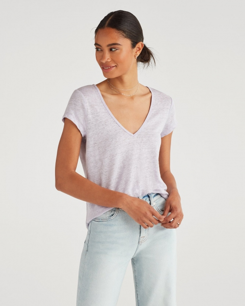 7 For All Mankind Women's V-Neck Tee Lilac Mist T-Shirt