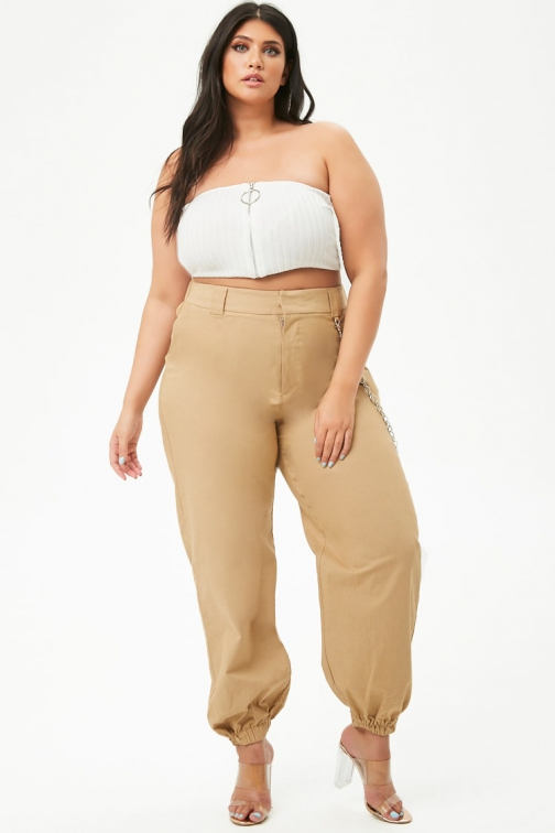 Forever21 Plus Forever 21 Plus Size Chain-Accent Taupe Jogger
