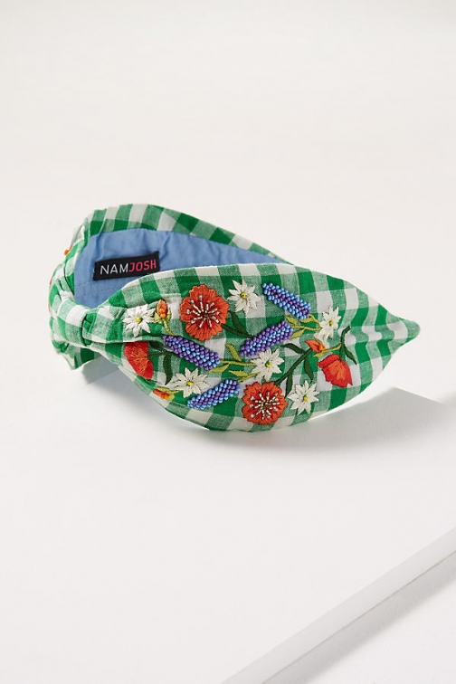 Anthropologie Floral-Embroidered Gingham Headband Headwear