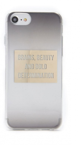 Forever21 Forever 21 Gradient Brains & Beauty Graphic For IPhone 6/7/8 Grey/gold Case