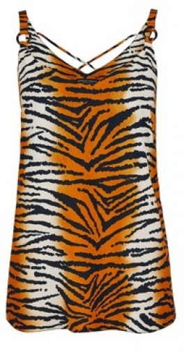 Dorothy Perkins Multi Colour Tiger Print Strap Camisole Top Ring