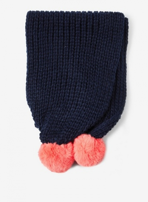 Dorothy Perkins Navy And Coral Ribbed Pom Pom Scarf