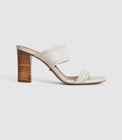 Reiss Freya - Leather High Heeled Mules White, Womens, Size 3 Shoes