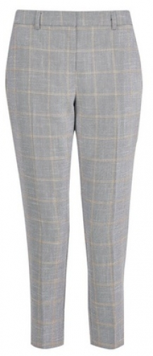 Dorothy Perkins Petite Grey Check Print Ankle Grazer Trousers Trouser