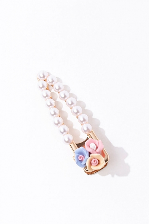 Forever21 Forever 21 Rose & Faux Pearl Gator Hair Clip , Pink/cream Headwear