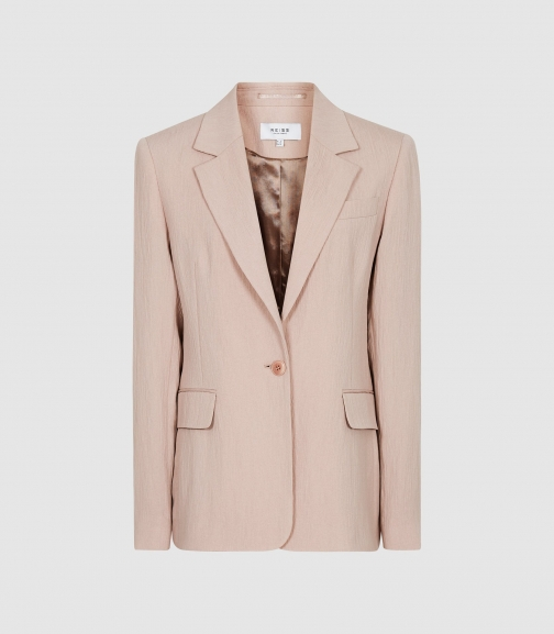 Reiss Lana - Textured Tailored Pale Pink, Womens, Size 4 Blazer