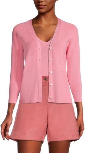 Ann Taylor Factory 3/4 SLEEVE CROPPED VNECK -PETITE Cardigan