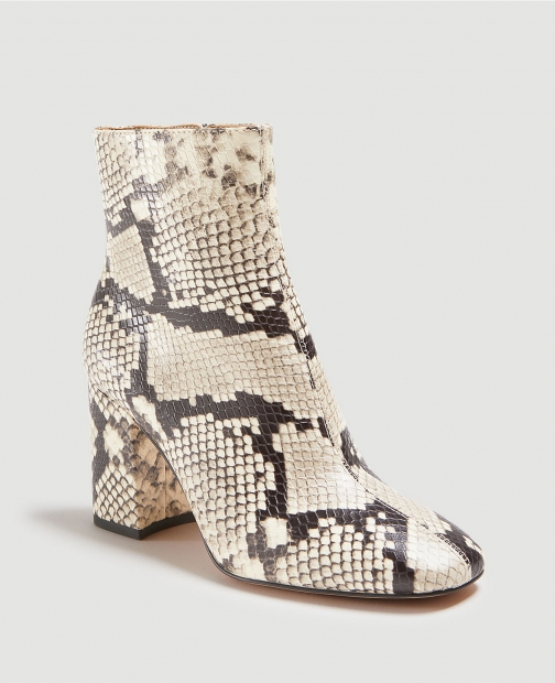 Ann Taylor North Snake Print Leather Block Heel Booties Boot