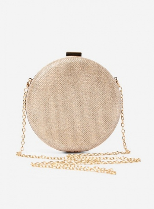 Dorothy Perkins Gold Round Box Bag Clutch