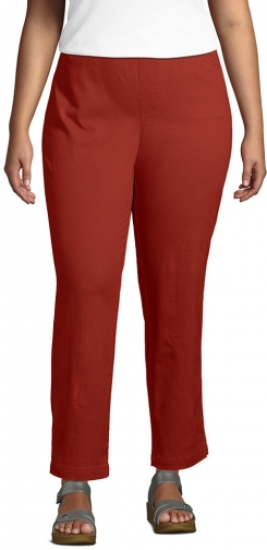 Lands' End Women's Plus Size Mid Rise Pull On Ankle Pants - Lands' End - Red - 16W Chino
