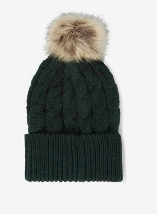Dorothy Perkins Womens Green Cable Knit Pom Pom - Green, Green Hat