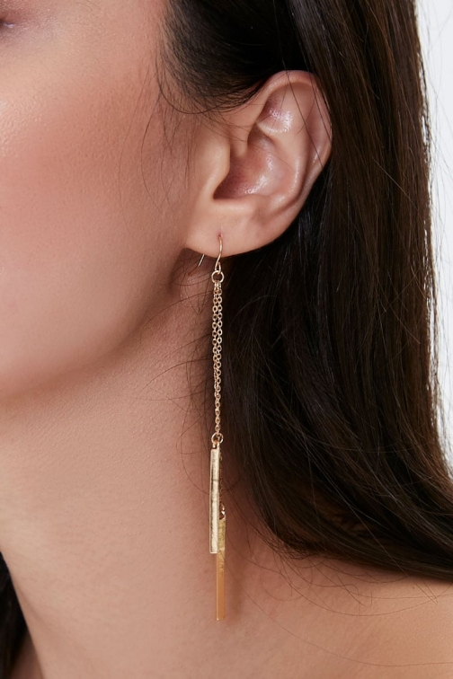 Forever21 Forever 21 Bar Pendant Drop , Gold Earring