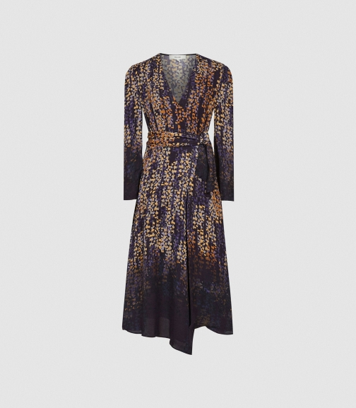 Reiss Esther - Printed Wrap Front Blue Print, Womens, Size 4 Dress