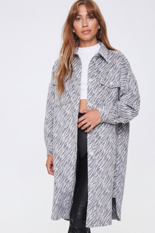 Forever21 Tiger Print Longline Coat At Forever 21 , Charcoal/light Grey Jacket