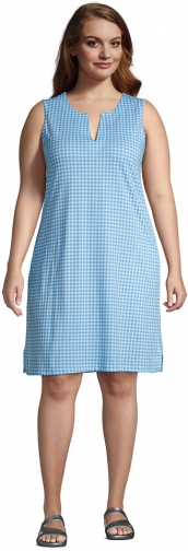 Lands' End Women's Plus Size Cotton Jersey Sleeveless Swim Cover-up Dress Print - Lands' End - Blue - 1X Swimwear