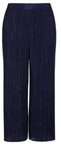 Dorothy Perkins Petite Navy Plisse Cropped Trouser