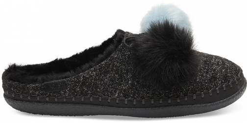 Toms Black Felt Pom Pom Women's Ivy Slippers