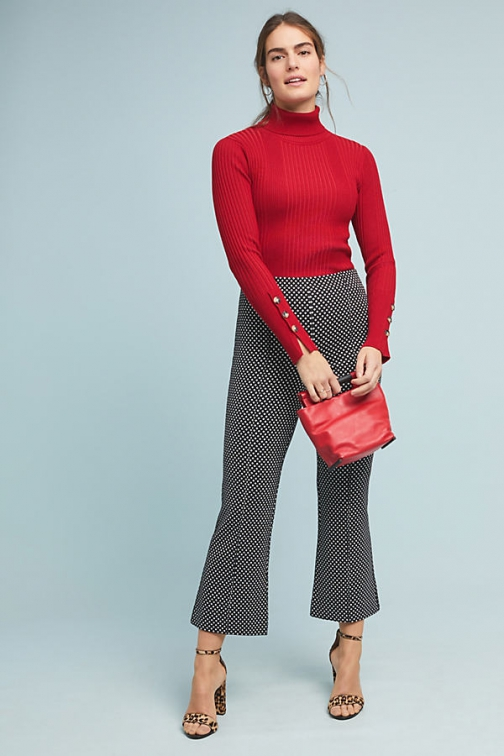 Anthropologie The Essential Cropped Flare Trousers Trouser