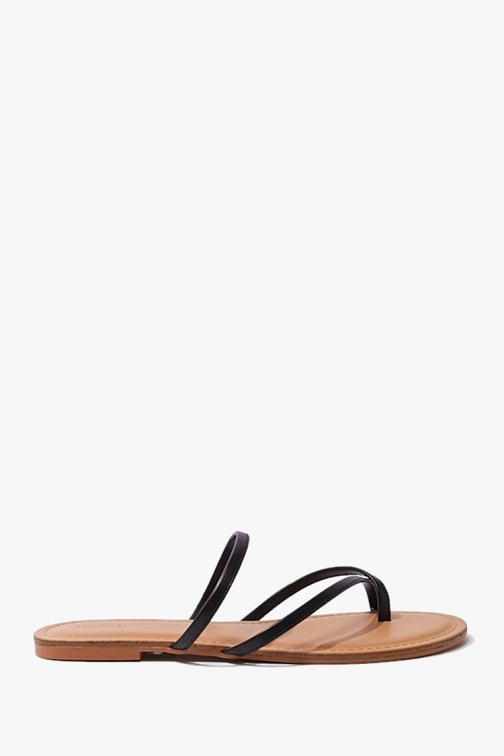 Forever21 Forever 21 Faux Leather Toe Thong , Black Sandals