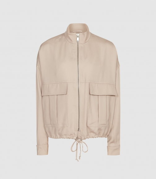 Reiss Immie Jacket - Satin Pale Pink, Womens, Size S Bomber Jacket