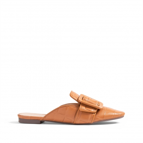 Schutz Shoes Savana Leather Mule - 6 Brown Nappa Deluxe Shoes