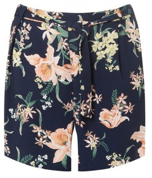 Dorothy Perkins Womens **DP Curve Navy Tropical Print Belted - Blue, Blue Short