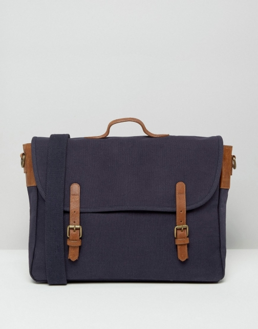 Asos Navy Canvas With Brown Leather Straps Satchel