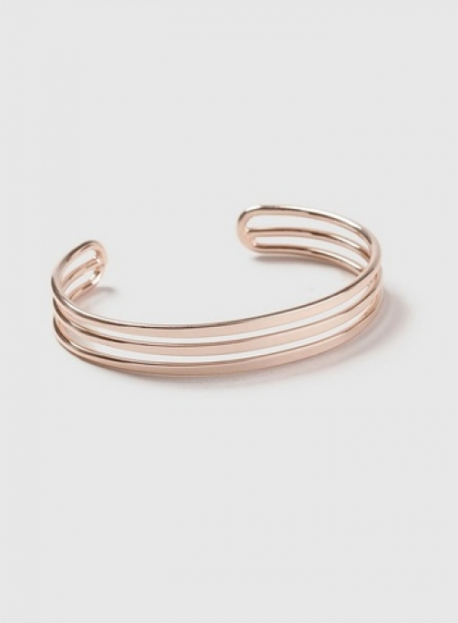 Dorothy Perkins Rose Gold Three Row Metal Wristwear Cuff