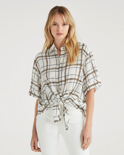 7 For All Mankind Women's Short Sleeve Tie Front Chain Print Shirt