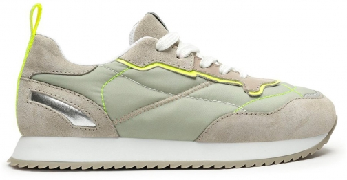 Schutz Shoes Penny Mixed Media Sneaker - 5 Grey/Green Leather Trainer
