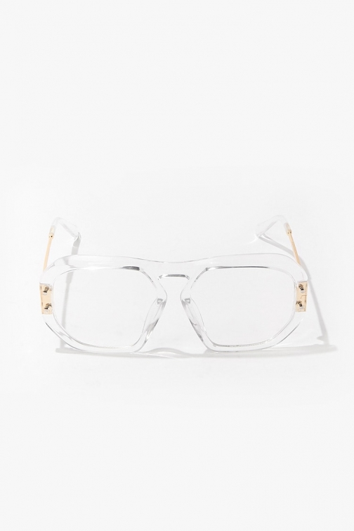 Forever21 Forever 21 Transparent Metal Readers , Gold/clear Eyewear