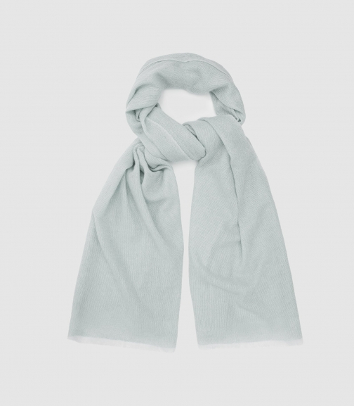 Reiss Marcia - Wool Cashmere Blend Pale Blue, Womens Scarf