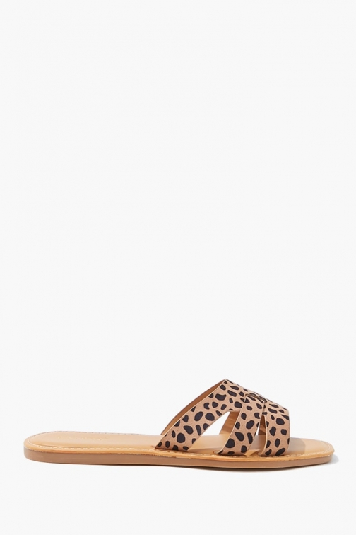 Forever21 Forever 21 Cheetah Print , Black/brown Flat Sandals