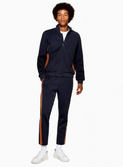 Topman Mens Navy Joggers With Side Panel Detail, Navy Athletic Pant