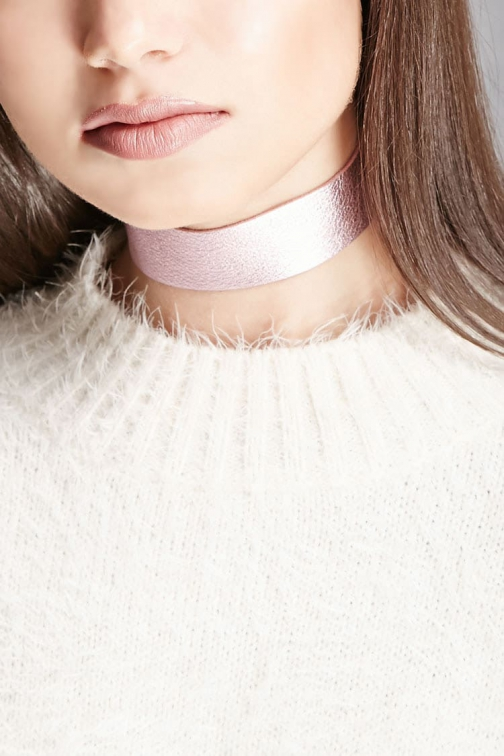 Forever21 Forever 21 JJ Winters Leather , Pink Chokers