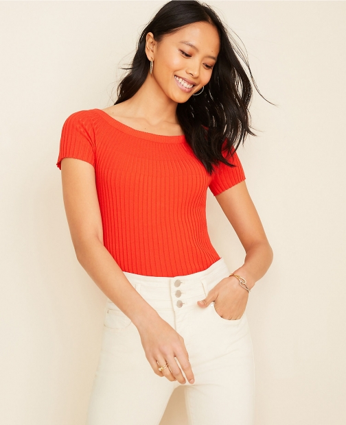 Ann Taylor Ribbed Off The Shoulder Sweater Sweatshirt