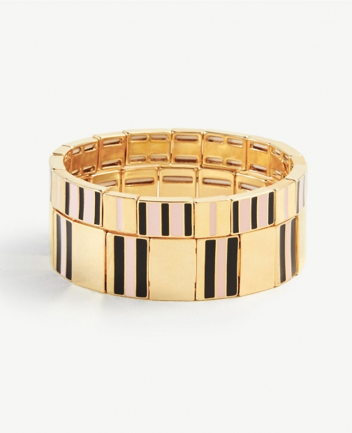 Ann Taylor Striped Enamel Stretch Set Bracelet
