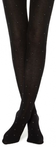 Calzedonia Cashmere With Micro Polka Dots Woman Black Size 1/2 Tight