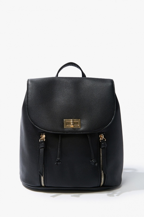 Forever21 Forever 21 Pebble Faux Leather , Black Backpack
