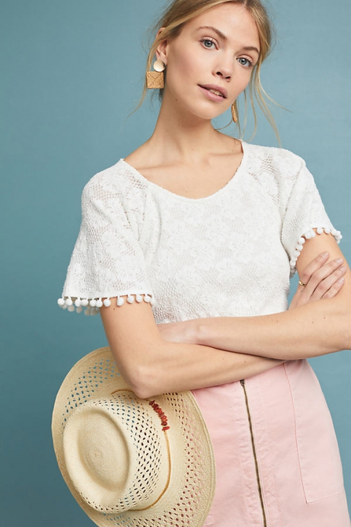 Eri + Ali Bianca Lace Top Shirt