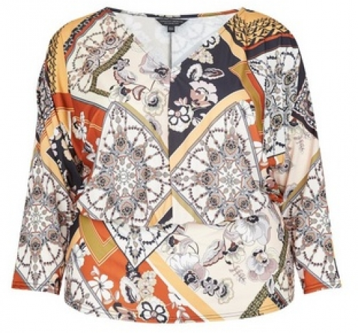 Dorothy Perkins Dp Curve Multi Colour Print Batwing Top Scarf