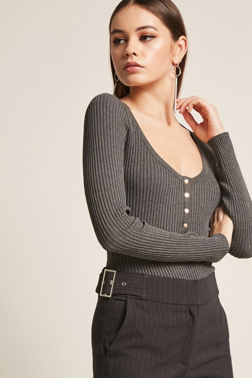 Forever21 Forever 21 Ribbed Button-Front Charcoal Bodysuit