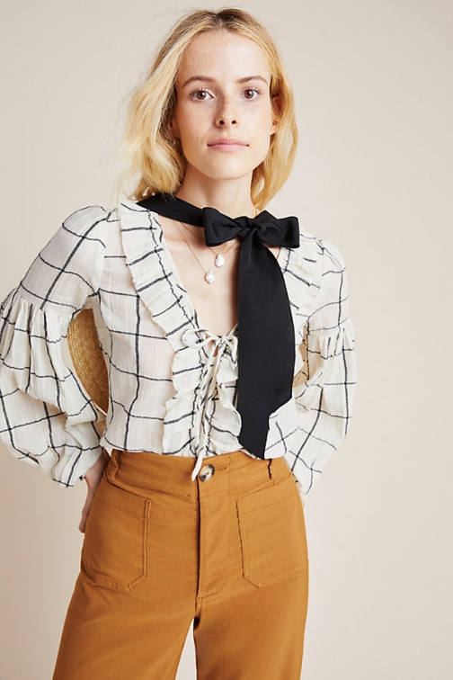 Anthropologie Garland Textured-Peasant Blouse