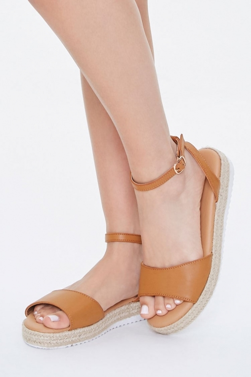 Forever21 Forever 21 Faux Leather Espadrille , Brown Sandals