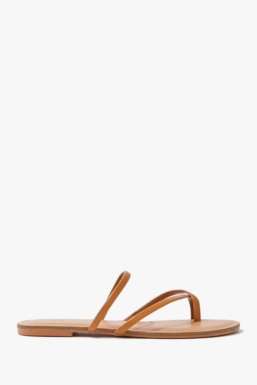 Forever21 Forever 21 Faux Leather Toe Thong , Tan Sandals