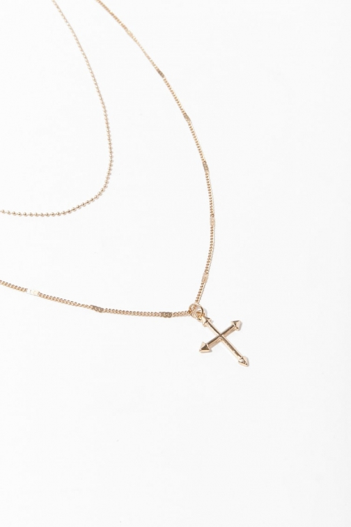 Forever21 Forever 21 Layered Cross Pendant , Gold Necklace