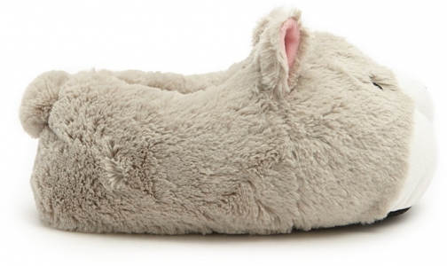 Forever21 Forever 21 Faux Fur Wolf Face Light Grey Slippers