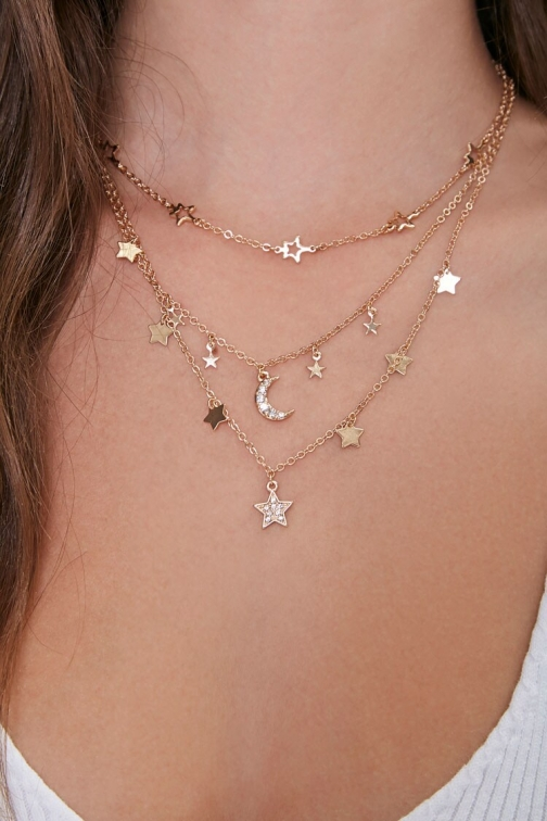 Forever21 Moon & Stars Layered At Forever 21 , Gold Necklace